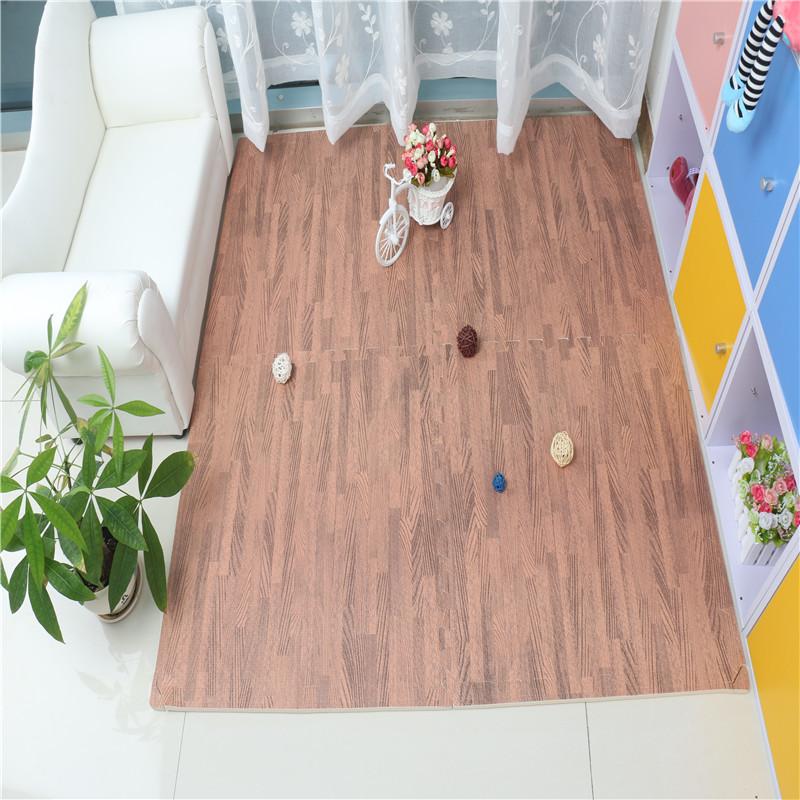 Eva Foam Interlocking Tiles Protective Flooring Mat with Borders – Dark Wood Grain/ Light Wood Grain
