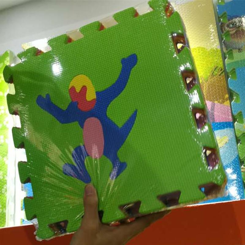 "Baby Playmats – Floor Mat w/ Removable Cartoon Animals – 9 Tiles Exercise Mat Solid Foam EVA Puzzle Play Mats (35.83"" x 35.83"" x"