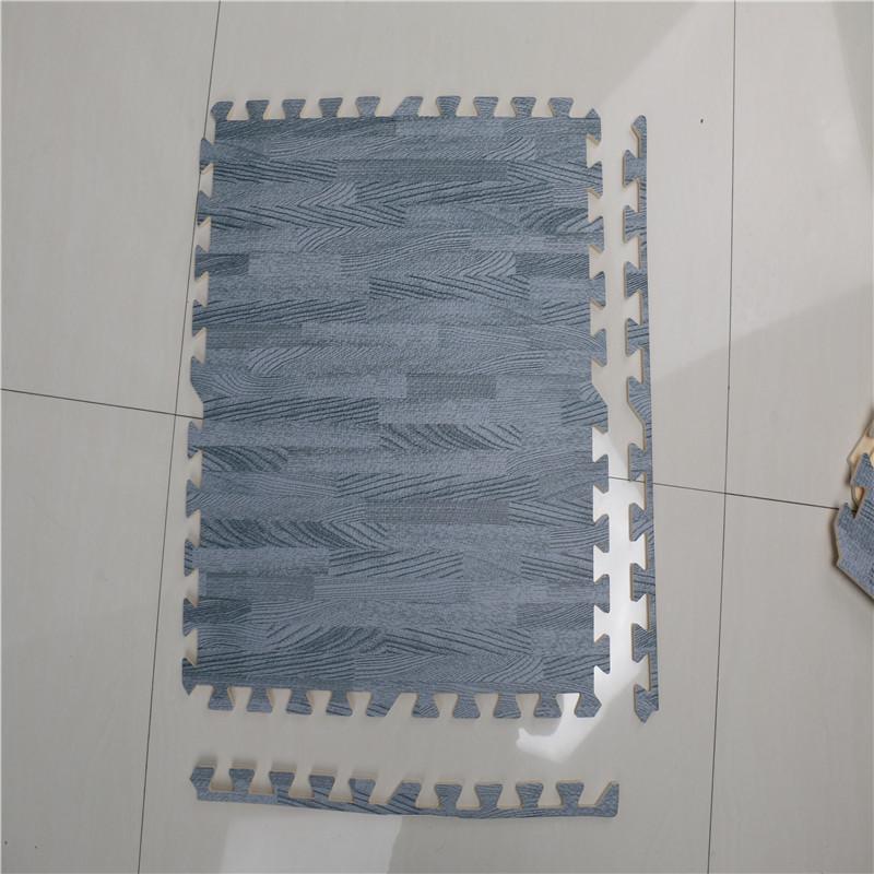 9Pcs 30x30cm Printed Wood Grain Interlocking Soft EVA Foam Floor Puzzle Mats For Gym Equipment Kids Play, White
